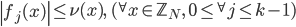\displaystyle \left|f_j(x)\right| \leq \nu(x), \quad ({}^{\forall}x \in \mathbb{Z}_N, \ 0 \leq {}^{\forall}j \leq k-1)