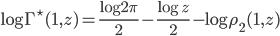 \displaystyle \log\Gamma^{\star}(1,z)=\frac{\log 2\pi}{2}-\frac{\log z}{2}-\log\rho_2(1,z)