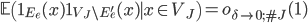 \displaystyle \mathbb{E}\left(\mathbf{1}_{E_e}(x)\mathbf{1}_{V_J\setminus E_e'}(x) \mid x \in V_J \right) = o_{\delta \to 0; \#J}(1)