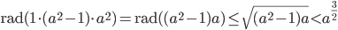 \displaystyle \mathrm{rad}(1\cdot (a^2-1)\cdot a^2)=\mathrm{rad}( (a^2-1)a)\leq \sqrt{(a^2-1)a} < a^{\frac{3}{2}}
