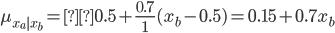 \displaystyle \mu_{x_a|x_b} =0.5 + \frac{0.7}{1} (x_{b} - 0.5) = 0.15 + 0.7 x_{b}