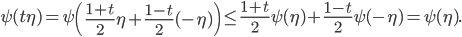 \displaystyle \psi(t\eta)=\psi\left(\frac{1+t}{2}\eta+\frac{1-t}{2}(-\eta)\right)\le\frac{1+t}{2}\psi(\eta)+\frac{1-t}{2}\psi(-\eta)=\psi(\eta).