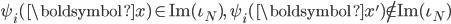 \displaystyle \psi_i(\boldsymbol{x}) \in \mathrm{Im}(\iota_N),\quad \psi_i(\boldsymbol{x}') \not \in \mathrm{Im}(\iota_N)