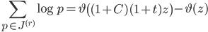 \displaystyle \sum_{p \in J^{(r)}}\log p = \vartheta\left( (1+C)(1+t)z\right)-\vartheta(z)
