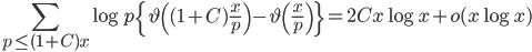 \displaystyle \sum_{p \leq (1+C)x}\log p\left\{\vartheta\left( (1+C)\frac{x}{p}\right)-\vartheta\left(\frac{x}{p}\right)\right\}=2Cx\log x+o(x\log x)