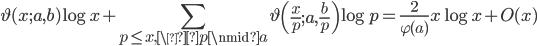 \displaystyle \vartheta(x;a,b)\log x+\sum_{p \leq x, \p \nmid a}\vartheta\left(\frac{x}{p};a,\frac{b}{p}\right)\log p=\frac{2}{\varphi (a)}x\log x+O(x)