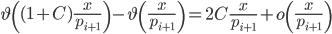 \displaystyle \vartheta\left( (1+C)\frac{x}{p_{i+1}}\right)-\vartheta\left(\frac{x}{p_{i+1}}\right) = 2C\frac{x}{p_{i+1}}+o\left(\frac{x}{p_{i+1}}\right)