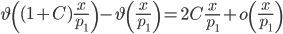 \displaystyle \vartheta\left( (1+C)\frac{x}{p_1}\right)-\vartheta\left(\frac{x}{p_1}\right)=2C\frac{x}{p_1}+o\left(\frac{x}{p_1}\right)