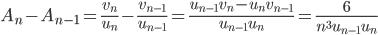 \displaystyle A_n-A_{n-1} = \frac{v_n}{u_n}-\frac{v_{n-1}}{u_{n-1}} = \frac{u_{n-1}v_n-u_nv_{n-1}}{u_{n-1}u_n} = \frac{6}{n^3u_{n-1}u_n}