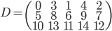 \displaystyle D= \begin{pmatrix} 0 & 3 & 1 & 4 & 2 \\ 5 & 8 & 6 & 9 & 7 \\ 10 & 13 & 11 & 14 & 12 \end{pmatrix}
