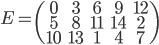 \displaystyle E=\begin{pmatrix} 0 & 3 & 6 & 9 & 12 \\ 5 & 8 & 11 & 14 & 2 \\ 10 & 13 & 1 & 4 & 7 \end{pmatrix}