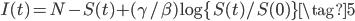 \displaystyle I(t)=N-S(t)+(\gamma /\beta)\log\{S(t)/S(0)\} \tag{5}