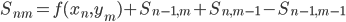 \displaystyle S_{nm} =f(x_n, y_m) + S_{n-1, m} + S_{n, m-1} - S_{n-1, m - 1}