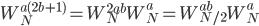 \displaystyle W_N^{a(2b+1)} = W_N^{2ab} W_N^a = W_{N/2}^{ab} W_N^a