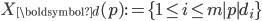 \displaystyle X_{\boldsymbol{d}}(p) := \{1 \leq i \leq m \mid p \mid d_i\}