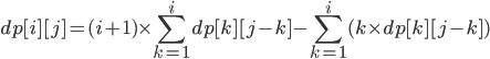 \displaystyle dp[i][j] =(i + 1) \times \sum_{k = 1}^{i}  dp[k][j-k] - \sum_{k = 1}^{i} ( k  \times dp[k][j-k])