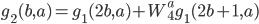 \displaystyle g_2(b, a) = g_1(2b, a) + W_4^a g_1(2b+1, a)