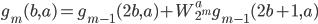 \displaystyle g_m(b, a) = g_{m-1}(2b, a) + W_{2^m}^a g_{m-1}(2b+1, a)
