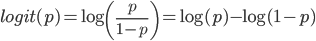 \displaystyle logit(p) = \log{\left( \frac{p}{1-p} \right)} = \log(p)-\log(1-p)