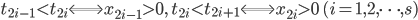 \displaystyle t_{2i-1} < t_{2i} \Longleftrightarrow x_{2i-1} > 0, \quad t_{2i} < t_{2i+1} \Longleftrightarrow x_{2i} > 0 \quad (i=1, 2, \dots, s)