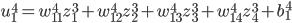 \displaystyle u_1^4 = w_{11}^4 z_1^3 + w_{12}^4 z_2^3 + w_{13}^4 z_3^3 + w_{14}^4 z_4^3 + b_1^4