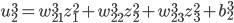 \displaystyle u_2^3 = w_{21}^3 z_1^2 + w_{22}^3 z_2^2 + w_{23}^3 z_3^2 + b_2^3