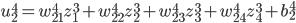 \displaystyle u_2^4 = w_{21}^4 z_1^3 + w_{22}^4 z_2^3 + w_{23}^4 z_3^3 + w_{24}^4 z_4^3 + b_2^4
