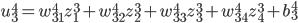 \displaystyle u_3^4 = w_{31}^4 z_1^3 + w_{32}^4 z_2^3 + w_{33}^4 z_3^3 + w_{34}^4 z_4^3 + b_3^4