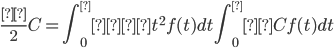 \displaystyle\frac{λ}{2}C = \int_0^∞ λt^2 f(t)dt\int_0^∞ Cf(t)dt