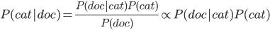 \displaystyle{P(cat|doc) = \frac{P(doc|cat)P(cat)}{P(doc)}\propto P(doc|cat)P(cat) }