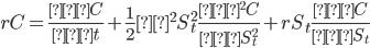 \displaystyle{rC=\frac{∂C}{∂t}+\frac12σ^2S_t^2\frac{∂^2C}{∂S_t^2}+rS_t\frac{∂C}{∂S_t}}