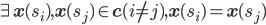 \exists \mathbf{x}(s_i),\mathbf{x}(s_j) \in \mathbf{c} (i\not =j), \mathbf{x}(s_i)=\mathbf{x}(s_j)