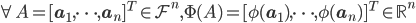\forall A=[\mathbf{a}_1,\dots,\mathbf{a}_n]^T\in\mathcal{F}^n,\Phi(A)=[\phi(\mathbf{a}_1),\dots,\phi(\mathbf{a}_n)]^T\in\mathbb{R}^n