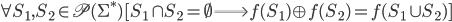 \forall S_1, S_2 \in \mathfrak{P}(\Sigma^*) [S_1 \cap S_2 = \emptyset \Longrightarrow f(S_1) \oplus f(S_2) = f(S_1 \cup S_2)]