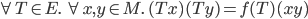 \forall T\in E.\ \forall x,y \in M.\ (Tx)(Ty)=f(T)(xy)