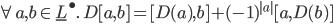\forall a, b\in {\underline{L}}^\bullet.\: D [a, b] = [D(a),  b] + (-1)^{|a|} [a, D(b)]