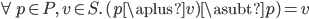 \forall p\in P,\, v\in S.\, (p \aplus v) \asubt p) = v