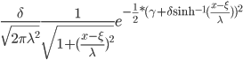 \frac{\delta}{\sqrt{2 \pi \lambda^2}}\frac{1}{\sqrt{1+(\frac{x-\xi}{\lambda})^2}}e^{-\frac{1}{2}*(\gamma+\delta\sinh^{-1} (\frac{x-\xi}{\lambda}))^2}
