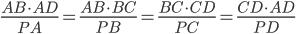 \frac{AB \cdot AD}{PA}=\frac{AB \cdot BC}{PB}=\frac{BC \cdot CD}{PC}=\frac{CD \cdot AD}{PD}
