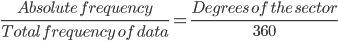 \frac{Absolute\ frequency}{Total\ frequency\ of\ data}=\frac{Degrees\ of\ the\ sector}{360}
