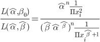 \frac{L(\hat\alpha, \beta_0)}{L(\hat\alpha, \hat\beta)}=\frac{\hat\alpha^n\frac{1}{\Pi x_i^2}}{(\hat\beta\hat\alpha^{\hat\beta})^n\frac{1}{\Pi x_i^{\hat\beta+1}}}