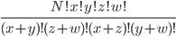 \frac{N!x!y!z!w!}{(x+y)!(z+w)!(x+z)!(y+w)!}