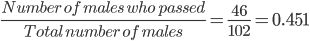 \frac{Number \ of \ males \ who \ passed }{ Total \ number \ of \ males} = \frac{46}{102} =0.451