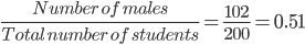 \frac{Number \ of \ males }{ Total \ number \ of \ students} = \frac{102}{200} =0.51