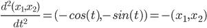 \frac{d^2(x_1,x_2)}{dt^2}=(-cos(t),-sin(t))=-(x_1,x_2)