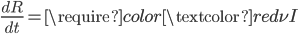 \frac{dR}{dt}=\require{color}\textcolor{red}{\nu} I