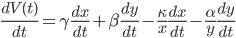 \frac{dV(t)}{dt}=\gamma \frac{dx}{dt}+\beta \frac{dy}{dt} -\frac{\kappa}{x} \frac{dx}{dt} -\frac{\alpha}{y} \frac{dy}{dt}