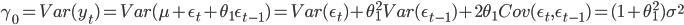 \gamma_{0}=Var(y_{t})=Var(\mu+\epsilon_{t}+\theta_{1}\epsilon_{t-1})=Var(\epsilon_{t})+\theta_{1}^2Var(\epsilon_{t-1})+2\theta_{1}Cov(\epsilon_{t},\epsilon_{t-1})=(1+\theta_{1}^2)\sigma^2