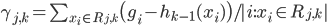 \gamma_{j,k}=\sum_{x_i \in R_{j,k}} \bigl(g_i - h_{k-1}(x_i) \bigr) / |i : x_i \in R_{j,k}|