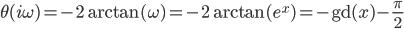 \hspace{0em}\displaystyle \begin{align} \theta(i\omega)    = -2 \arctan( \omega ) = -2 \arctan( e^{x} ) = -\mathrm{gd}(x) - \frac{\pi}{2} \end{align}